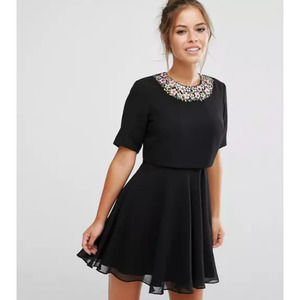 ASOS Embellished Floral Crop Mini Dress Black 4